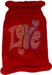 Technicolor Love Rhinestone Knit Pet Sweater Red Sm